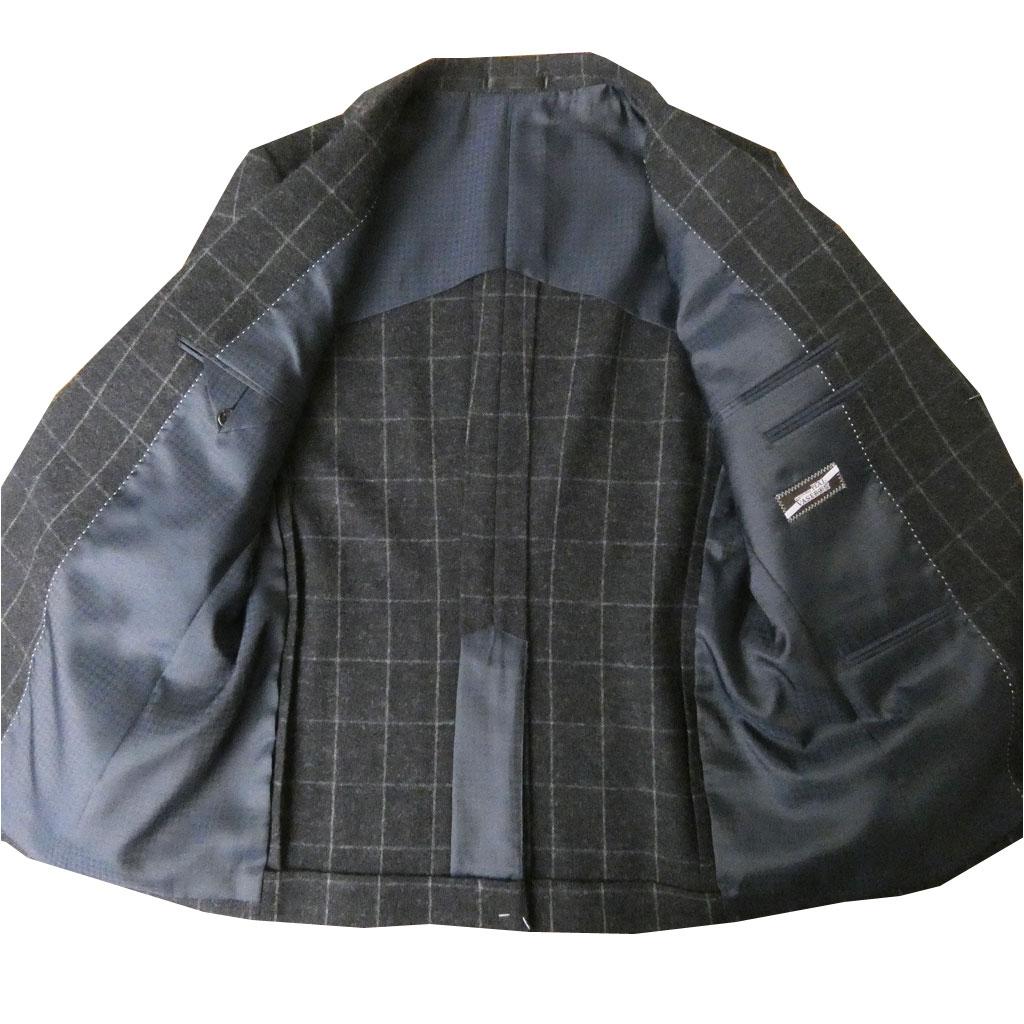 お取り寄せ HAI-VASERON(ハイバセロン) メンズ 秋冬春二つボタン ツイードジャケット  ネイビー ウインドペンチェック 2213 AB4 AB5 AB6 BB4 BB5 BB6