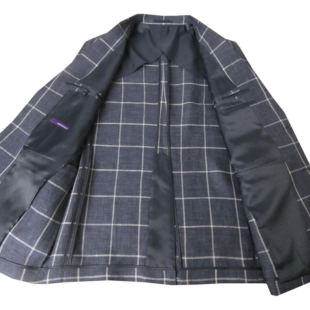 【お取り寄せ】 RESPECT(リスペクト) 春夏 麻100%ジャケット ネイビー チェック 2488 M L