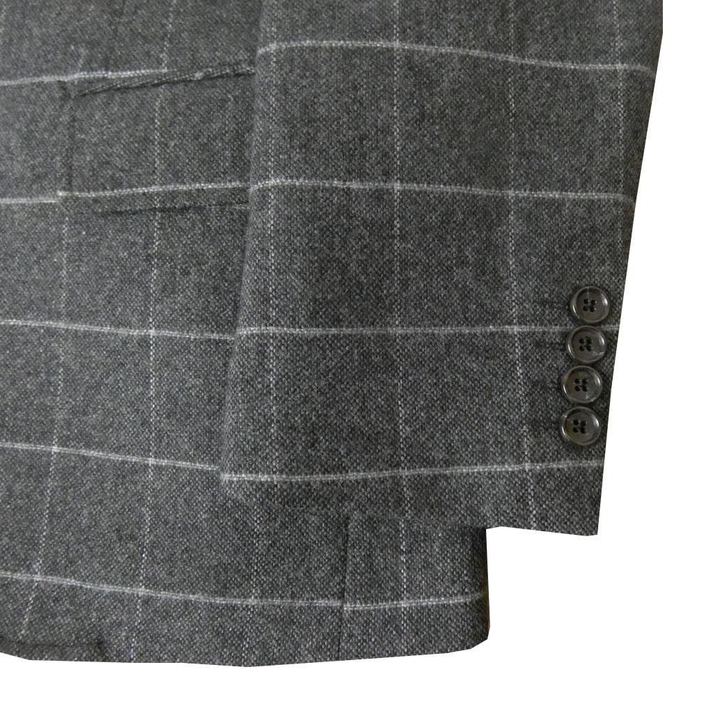 お取り寄せ HAI-VASERON(ハイバセロン) メンズ 秋冬春二つボタン ツイードジャケット  チャコールグレー ウインドペンチェック 2223 AB4 AB5 AB6 AB7 BB4 BB5 BB6 BB7