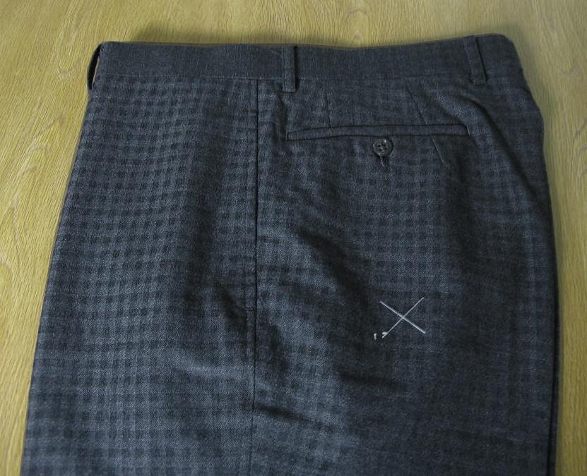 HAI-VASERONの秋冬ノータックパンツ チャコールグレー ブロックチェック 0423  79cm 88cm