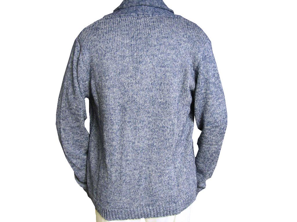 stanley blacker(スタンリーブラッカー) カーディガン メンズ 長袖 ニット フィッシャーマン ブルー 0582 L LL