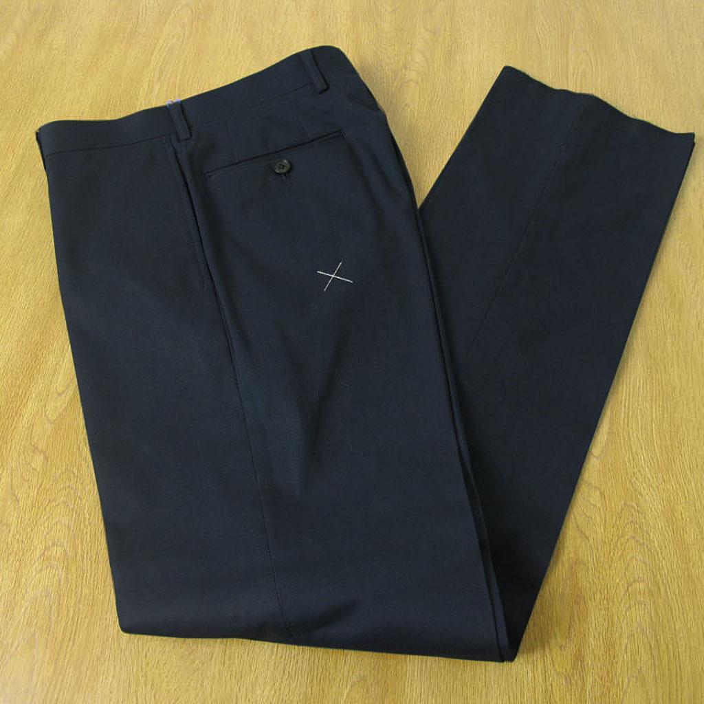 春夏秋 コットン パンツ ネイビー ノータック 【セットアップ可】 OXFORD CLASSIC PremiumLine 0688 76cm