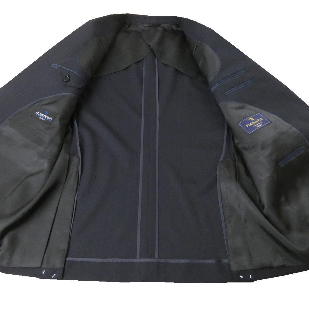 【キングサイズ有り】 ALAINDELON(アランドロン) スーツ メンズ 春夏秋 2つボタン ネイビーストライプ 2588 BB4 BB8 E5 E8
