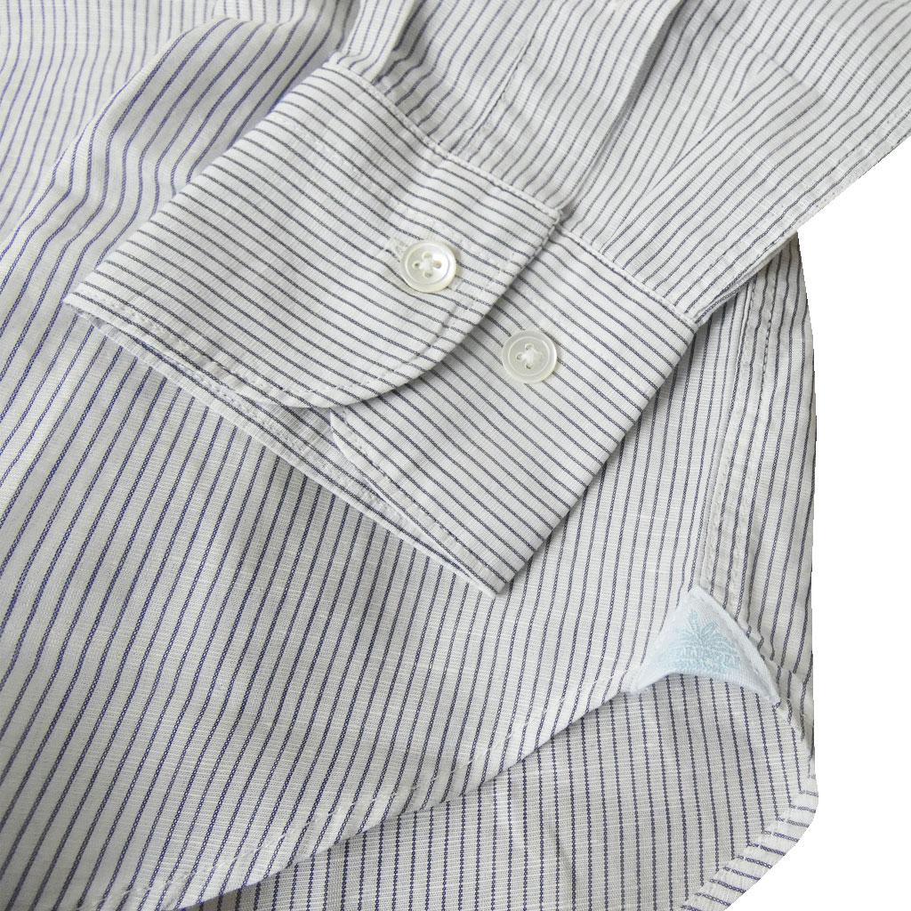 GALLIPOLI camiceria(ガリポリカミチェリア) 長袖プルオーバーシャツ メンズ ホリゾンタルカラー 白地に黒のストライプ 001 L