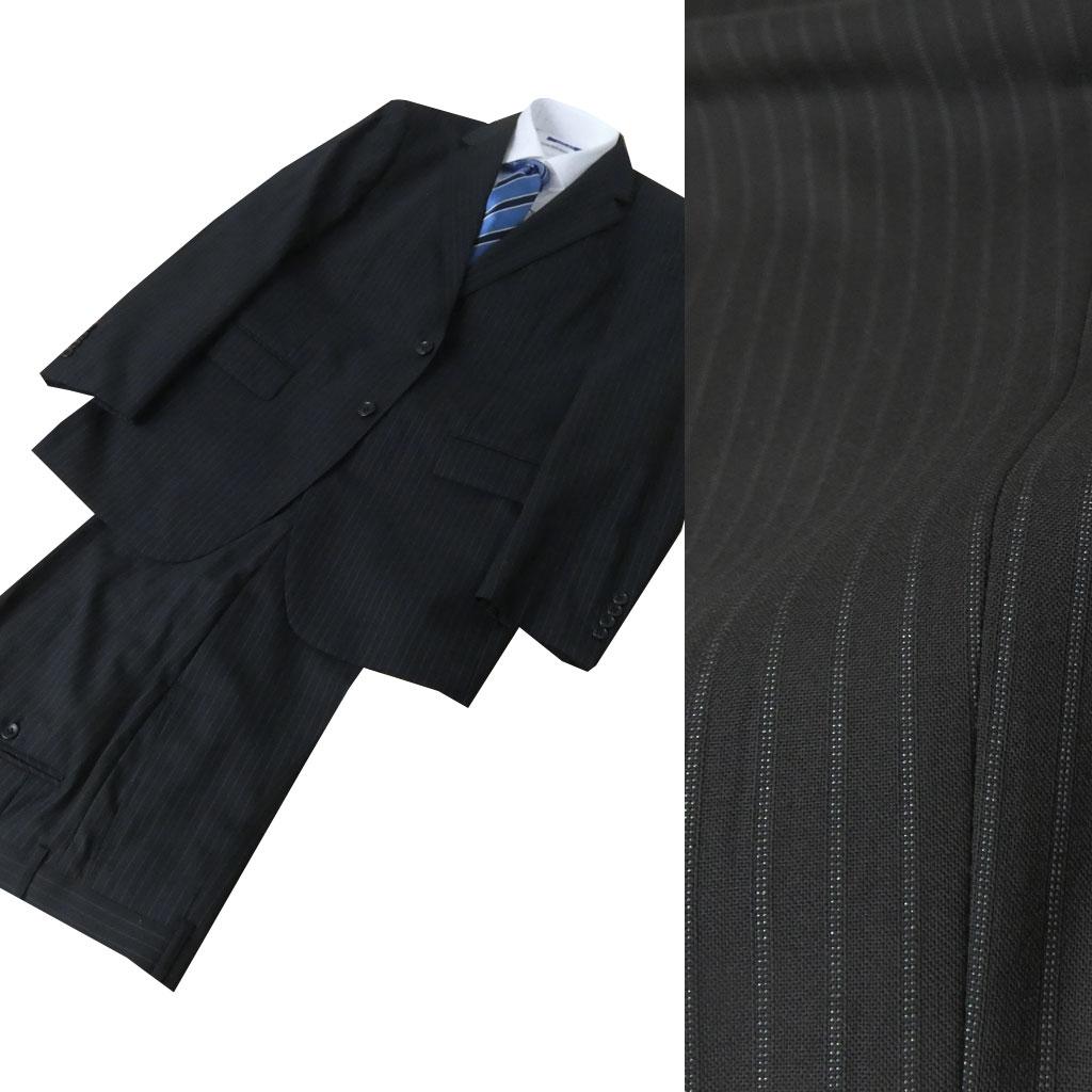 LEGMAN 春夏 スーツ 黒 ストライプ 2つボタン 【防シワ加工】【耐久折り目加工】 0209  AB7