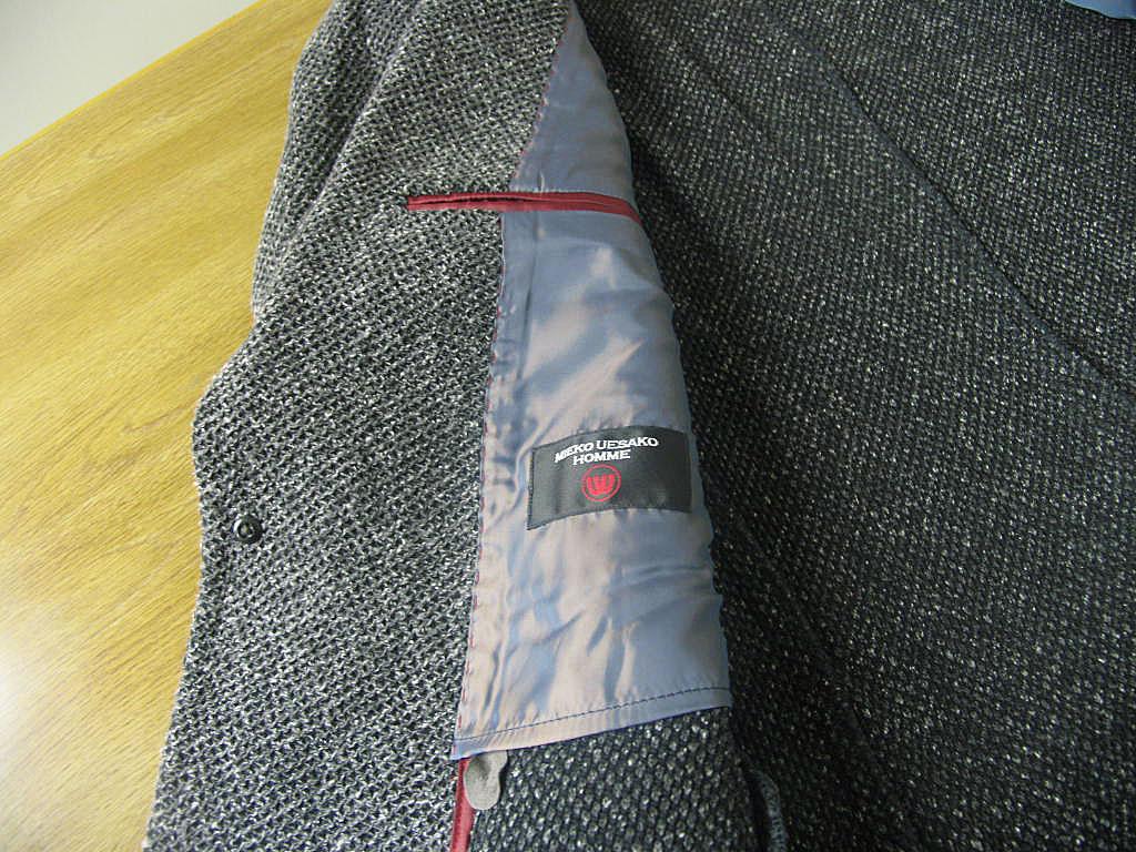 MIEKO UESAKO 秋冬春 ニット ジャケットチャコールグレー 2つボタン 【綿混】 メンズ カジュアル 3418  A8