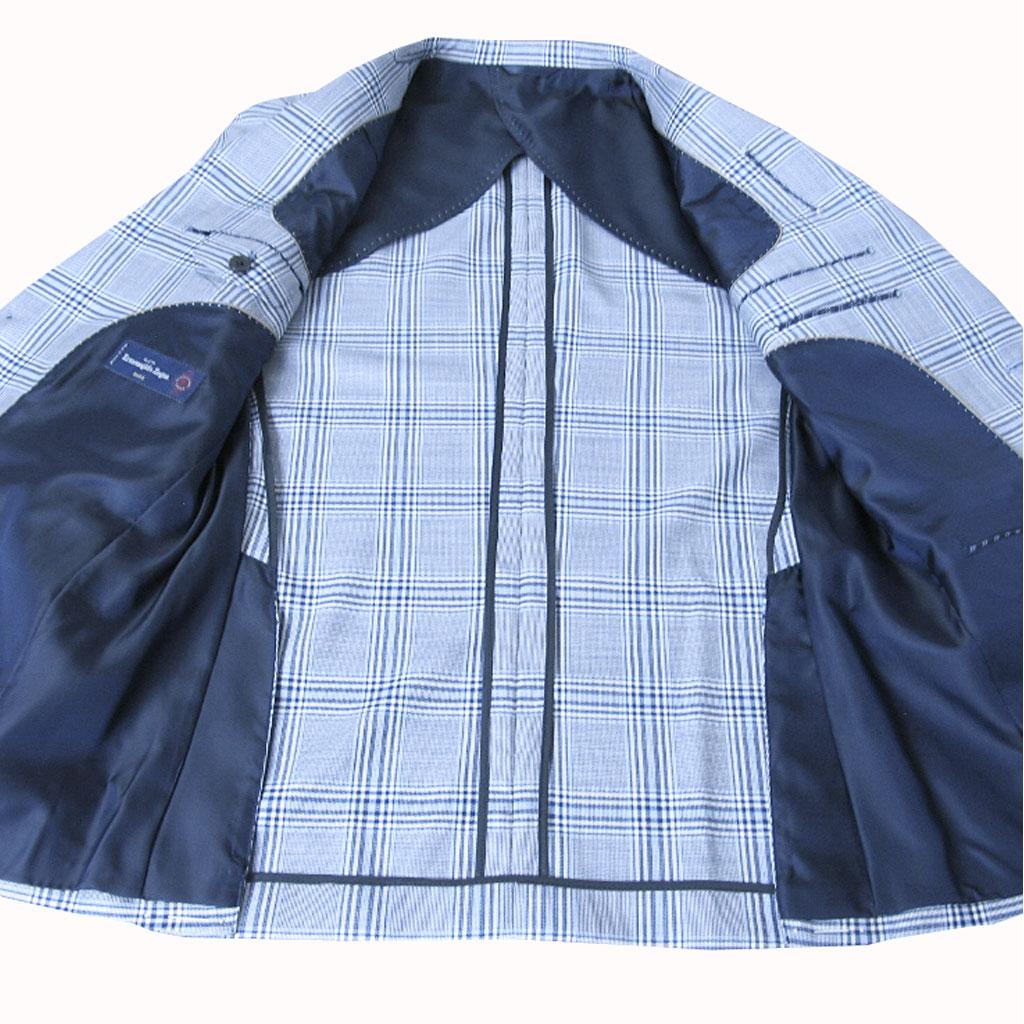 Ermenegildo Zegna(エルメネジルド ゼニア) ジャケット メンズ 春夏 2つボタン チェック  ブルー 8282 A5 A7