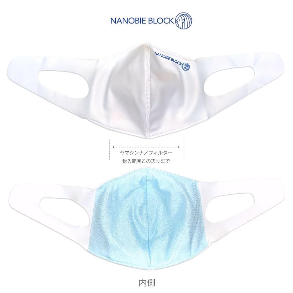 【医療レベルN95相当】ヤマシンナノフィルター 水着素材マスク 3D立体縫製 耳が痛くなりにくい 水着マスク 新型アマビエマスク ナノビエブロック アマビエ柄 ホワイト M L