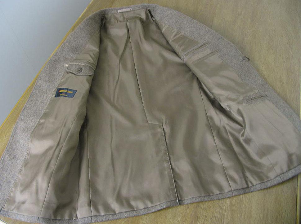 秋冬春 フラノ ブレザー ベージュ系 クルミボタン 段返り3つボタン メンズ ジャケット OXFORD CLASSIC 0455   A7