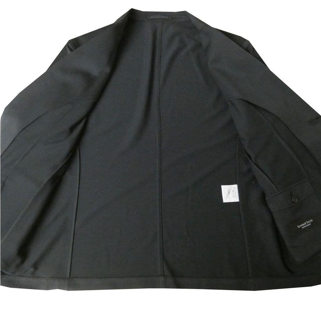 【お取り寄せ】 second style(セカンドスタイル) 春夏秋 スーツ 黒ストライプ 【テレワーク】 5109  M L LL