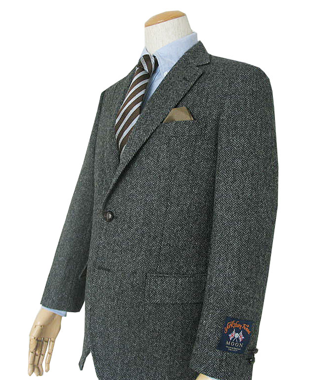 キングサイズ 秋冬 メンズ ツイード ジャケット グレー ヘリンボーン 3つボタン MOON社製生地 OXFORD CLASSIC PremiumLine 0318  E7 E8