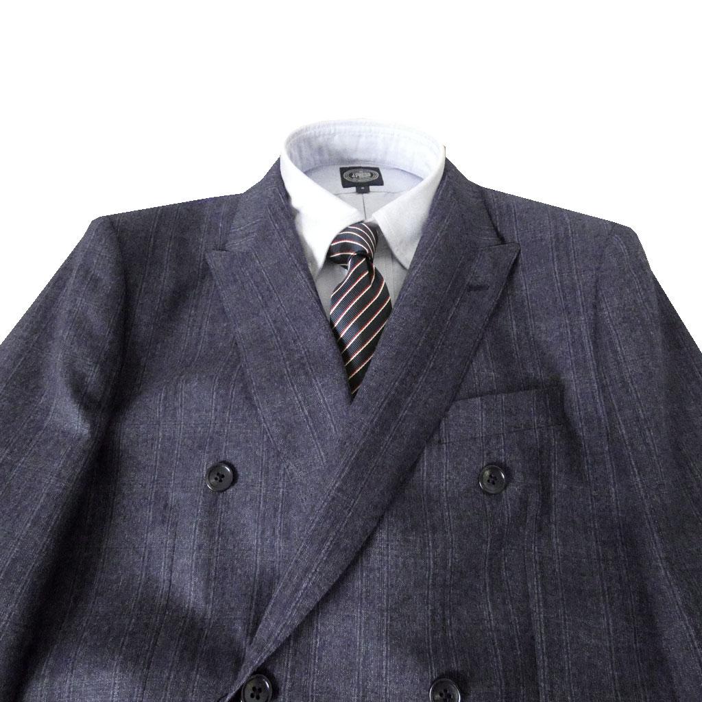 ALAINDELON(アランドロン) ダブルスーツ メンズ 秋冬春 6つボタン 紺系 チェック 4688 BB5