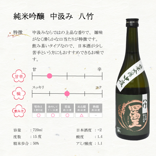 純米吟醸中汲み 八竹 720ml