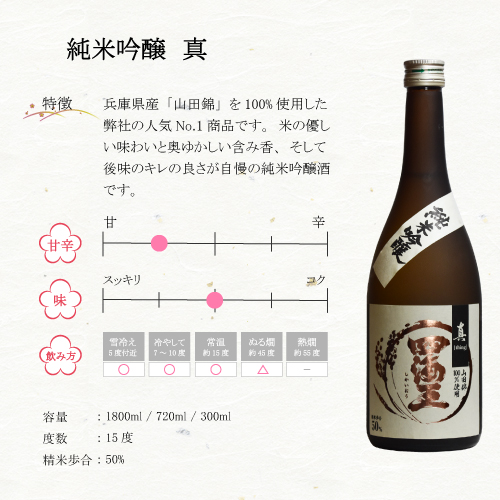 純米飲み比べセット 純米大吟醸『山田錦BY』&純米吟醸『真』&純米酒『福』  720mlx3本