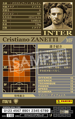 【FOOTISTA 変換済み】 ★【02-03 IT08】クリスティアーノ・ザネッティ