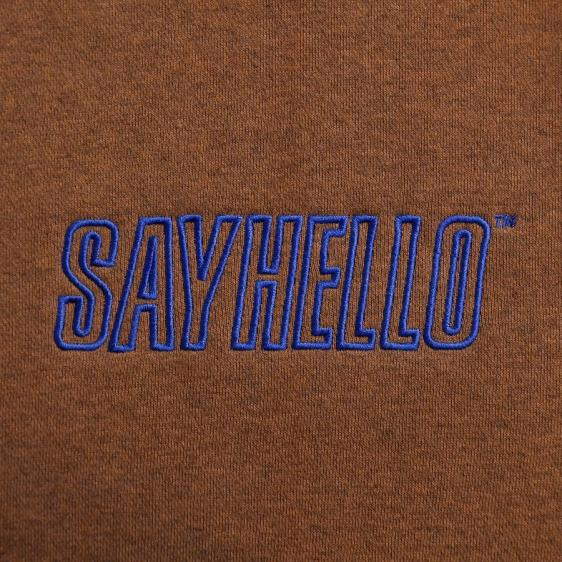 SAYHELLO : Flame Logo Embroidery Pigment Dyed Hoodie