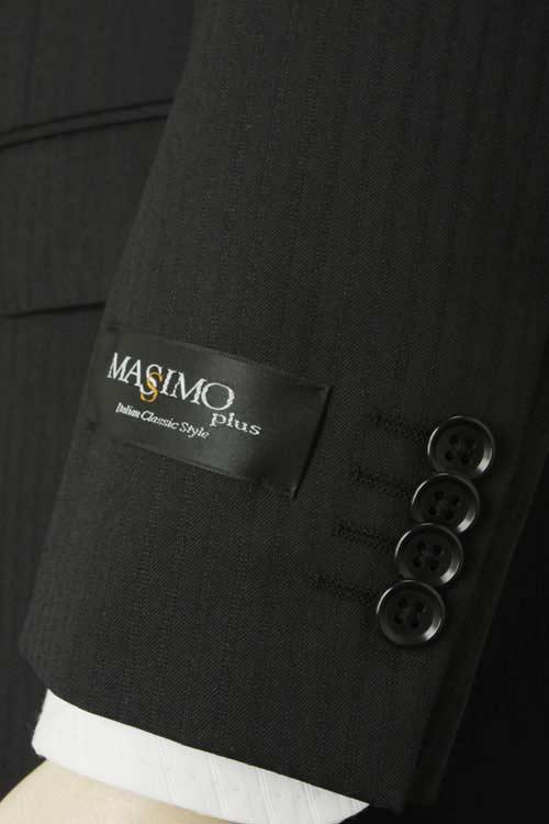 オールシーズンスーツ MASSIMO PLUS 2つボタンベーシックスリム 通年対応 高機能素材 アウトラスト 生地使用 Outlast ブラックストライプ