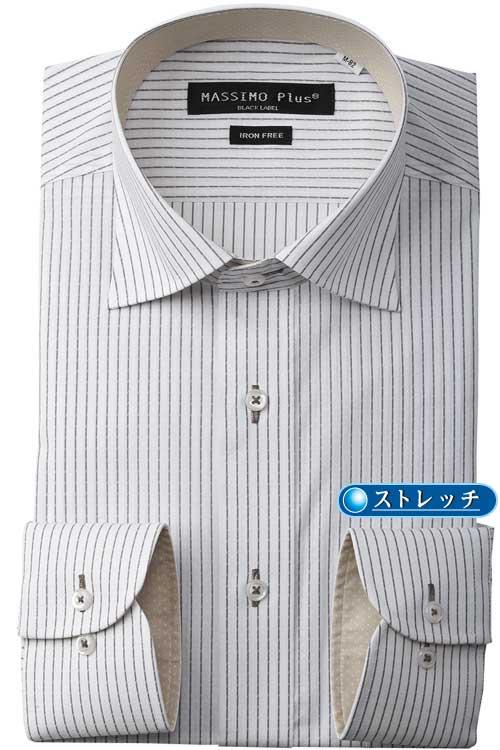 長袖ワイシャツ ワイドカラー ライトグレー ストライプ系 ストレッチ ダウXLA DOW XLA ポリオレフィン系弾性繊維