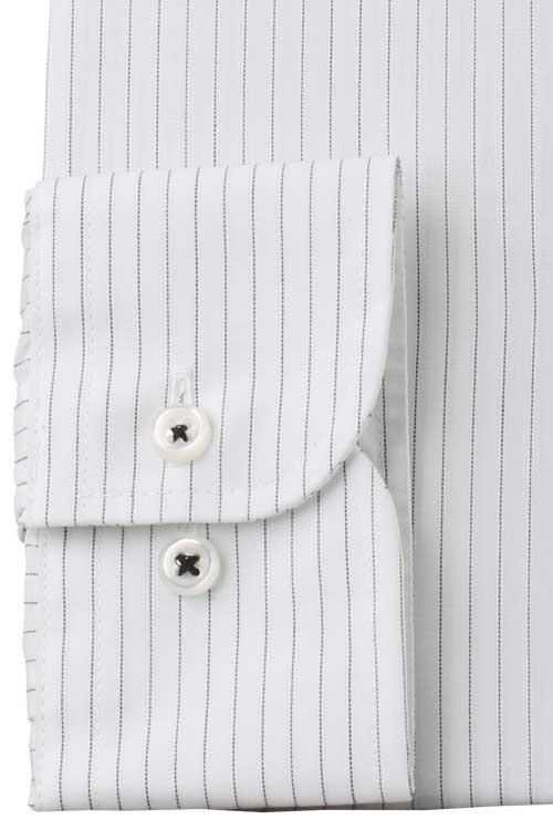 ワイシャツ 抗ウイルス加工 バリエックス メンズ ドレスシャツ Yシャツ 長袖 形態安定 ノーアイロン ボタンダウン モノトーン系ストライプ