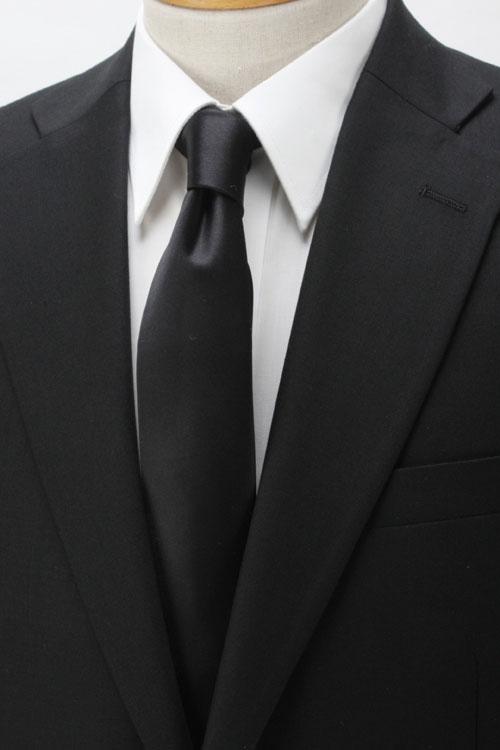 フォーマルネクタイ/紳士用/シルク100%/6.5cm巾スリムタイ/ブラック/黒/サテン無地/弔事用
