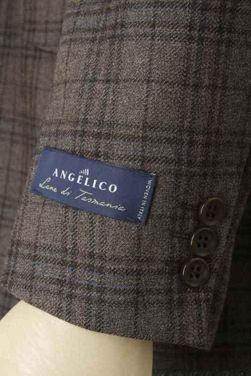 ANGELICO アンジェリコ社製生地使用 ブラウン カルゼチェック 秋冬 2つボタンシングルジャケット
