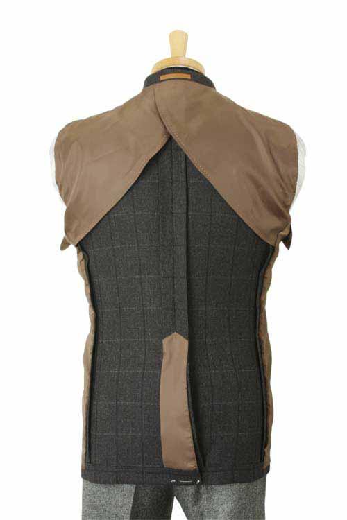 ANGELICO アンジェリコ社製生地使用 秋冬 グレー ピンヘッドウィンドペン 2つボタンシングルジャケット