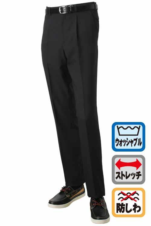 スラックス メンズ ウォッシャブル ビジネス 春夏 夏 ストレッチ 防シワ 洗える パンツ ブラック