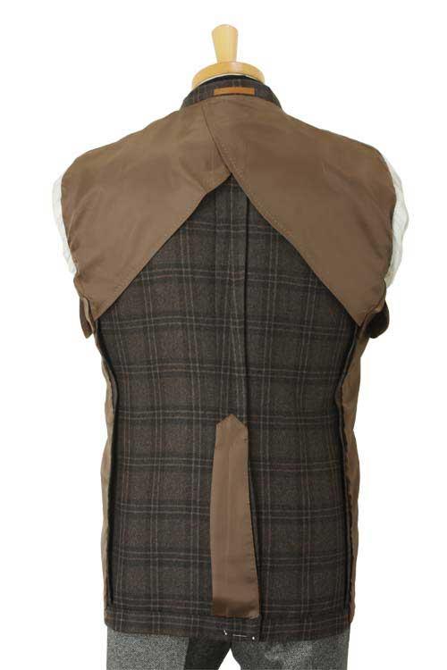 ANGELICO アンジェリコ社製生地使用 ブラウン ダブルウィンドペン 秋冬 2つボタンシングルジャケット