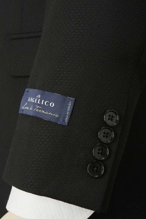 ANGELICO アンジェリコ社製生地使用 秋冬スーツ 2つ釦スリムスーツ 背抜き ノータックパンツ ブラック ドビー 秋冬春 3シーズン対応可