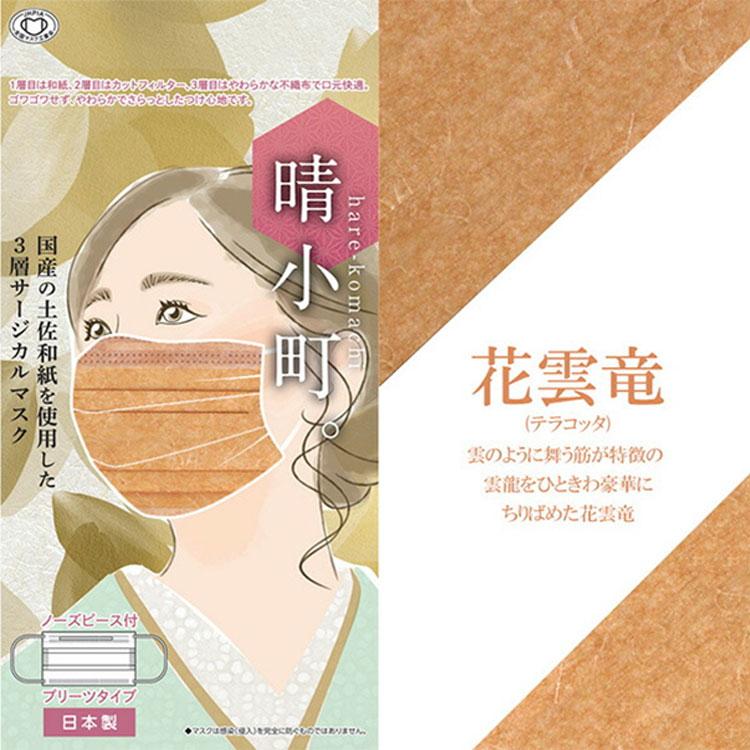マスク 不織布 カラー柄 日本製 サージカルマスク 血色マスク 晴小町 土佐和紙使用 3層構造 10枚セット