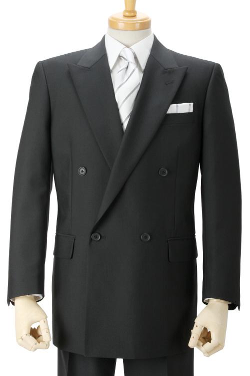 礼服 オールシーズン対応 ダブル4つ釦1つ掛け アジャスター付き ベーシック ブラックフォーマル
