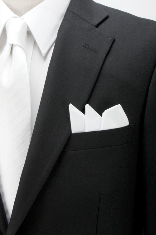 ポケットチーフ/礼装用/折りたたみ済/挿すだけ簡単装着/ホワイト/無地/綿100%/フォーマル