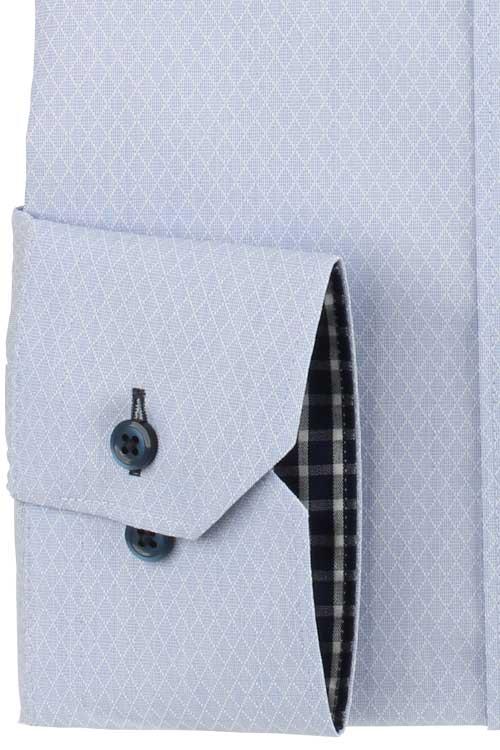 ワイシャツ メンズ ドレスシャツ Yシャツ 長袖 SPANO スパーノ 超形態安定 ノーアイロン ベーシック ボタンダウン サックス ダイヤチェック柄