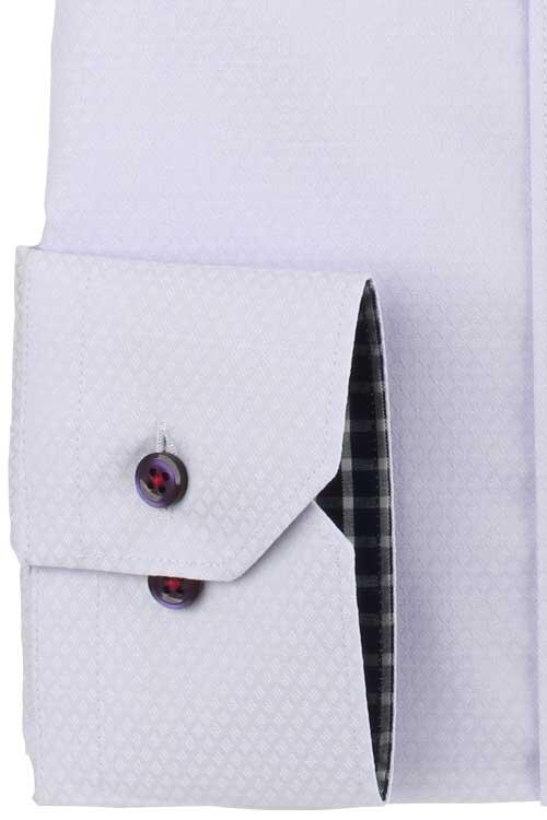 ワイシャツ メンズ ドレスシャツ Yシャツ 長袖 SPANO スパーノ 超形態安定 ノーアイロン ベーシック ボタンダウン ラベンダー ダイヤチェック柄
