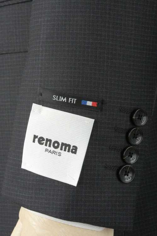 renoma PARIS レノマ パリス 秋冬 ダークグレー シャンブレー ドビーストライプ 2つ釦スリムスーツ