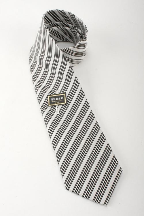 フォーマル ネクタイ メンズ 8.5cm巾ベーシックタイ 白黒ストライプ 慶事用 モーニング シルク100%