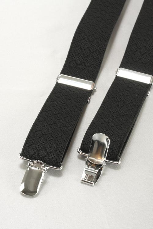 サスペンダー/メンズ/クリップ式/Y型3cm巾サスペンダー/ブラック/ゴム織りフィリップ柄/礼装/カジュアル