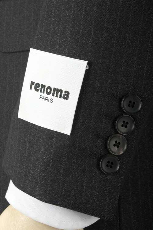 renoma PARIS レノマ パリス 秋冬 ブラック 杢ペンシルストライプ 2つ釦ベーシックスーツ