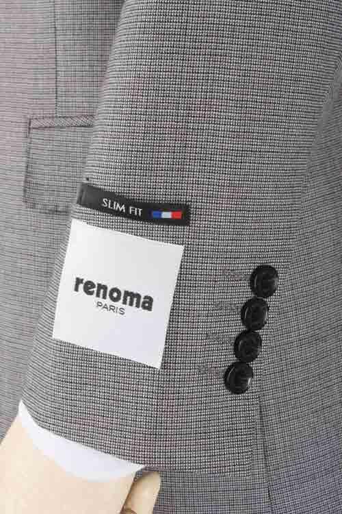 renoma PARIS レノマ パリス 秋冬 ライトグレー ミックス調ミニチェック 2つ釦スリムスーツ