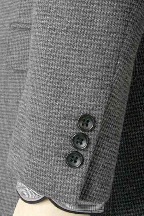 秋冬 グレー千鳥格子 コットン&ニット ストレッチ 2つボタン シングルジャケット