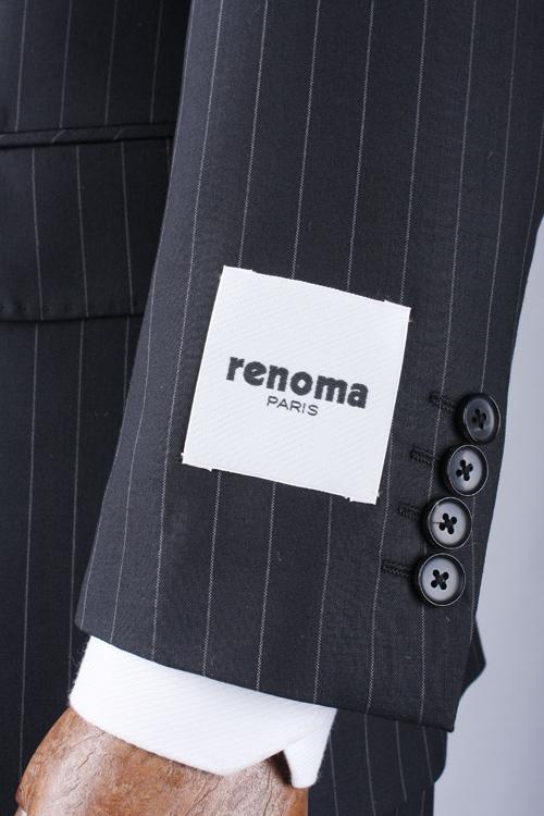renoma PARIS レノマ パリス 春夏 ブラック ストライプ 2つ釦ベーシックスーツ