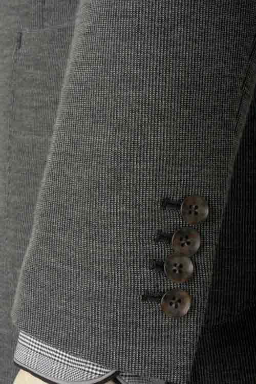 秋冬 グレーピケストライプ テンセルブレンド ニット ストレッチ 2つボタン シングルジャケット