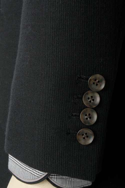 秋冬 ネイビーピケストライプ テンセルブレンドニット ストレッチ 2つボタンシングルジャケット