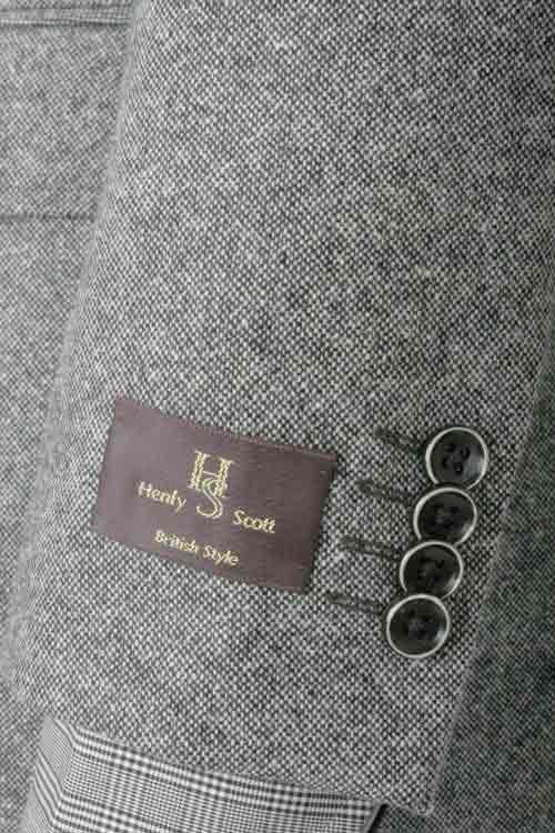 秋冬 白黒ホームスパン柄 2つボタンシングル ツイードジャケット