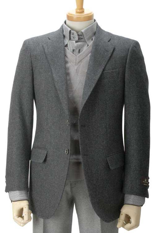秋冬 グレーホームスパン柄 2つボタンシングル ツイードジャケット