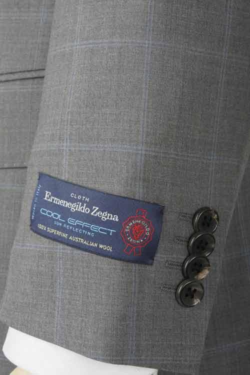 Ermenegildo Zegna エルメネジルド ゼニア 社製生地 COOL EFFECT使用 春夏 グレー ウインドペン 2つ釦スリムスーツ