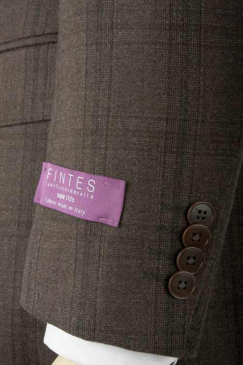 FINTES フィンテス社製生地使用 秋冬 ブラウン グレンチェック 2つ釦スリムスーツ