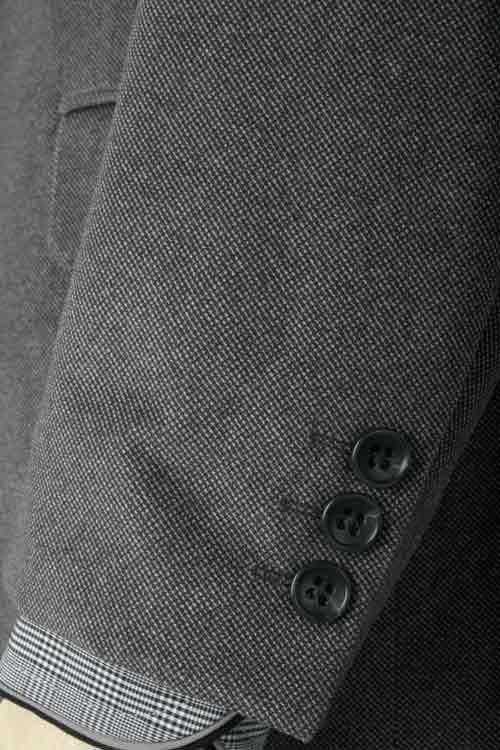 NORMAN HILTON ノーマンヒルトン 秋冬 グレー バーズアイ 2つ釦ベーシック ストレッチ ジャケット