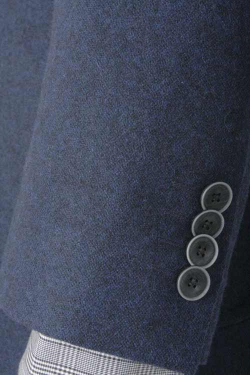 秋冬 ネービー無地 裏地ポケットチーフ仕様 2つ釦シングル カジュアルジャケット