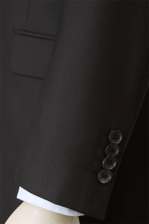dunhill ダンヒル 社製生地使用 秋冬 ブラック ドビーストライプ 2つ釦スリムスーツ